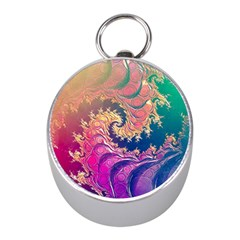 Rainbow Octopus Tentacles In A Fractal Spiral Mini Silver Compasses by beautifulfractals