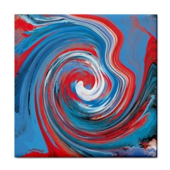 Red And Blue Rounds Tile Coasters by berwies