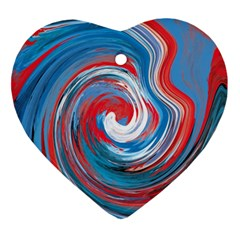 Red And Blue Rounds Ornament (heart) by berwies