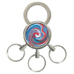 Red And Blue Rounds 3 Ring Key Chains by berwies