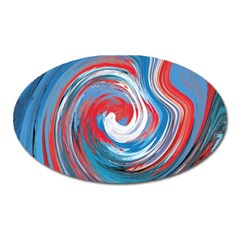 Red And Blue Rounds Oval Magnet by berwies