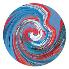 Red And Blue Rounds Magnet 5  (round) by berwies