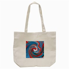 Red And Blue Rounds Tote Bag (cream) by berwies
