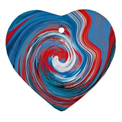Red And Blue Rounds Heart Ornament (two Sides) by berwies