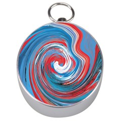 Red And Blue Rounds Silver Compasses by berwies