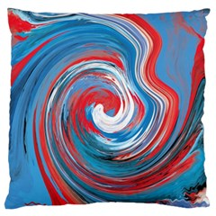 Red And Blue Rounds Large Flano Cushion Case (two Sides) by berwies