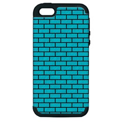 Brick1 Black Marble & Turquoise Colored Pencil Apple Iphone 5 Hardshell Case (pc+silicone) by trendistuff