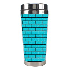 Brick1 Black Marble & Turquoise Colored Pencil Stainless Steel Travel Tumblers