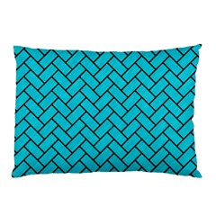 Brick2 Black Marble & Turquoise Colored Pencil Pillow Case (two Sides) by trendistuff