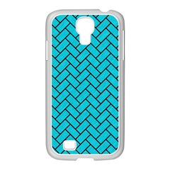 Brick2 Black Marble & Turquoise Colored Pencil Samsung Galaxy S4 I9500/ I9505 Case (white) by trendistuff