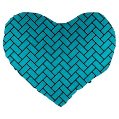 Brick2 Black Marble & Turquoise Colored Pencil Large 19  Premium Flano Heart Shape Cushions by trendistuff