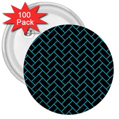 Brick2 Black Marble & Turquoise Colored Pencil (r) 3  Buttons (100 Pack)  by trendistuff
