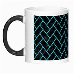 Brick2 Black Marble & Turquoise Colored Pencil (r) Morph Mugs by trendistuff