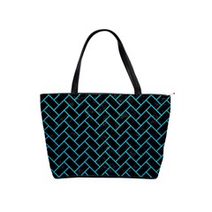 Brick2 Black Marble & Turquoise Colored Pencil (r) Shoulder Handbags by trendistuff