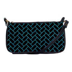 Brick2 Black Marble & Turquoise Colored Pencil (r) Shoulder Clutch Bags by trendistuff