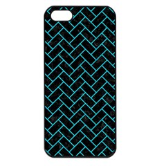 Brick2 Black Marble & Turquoise Colored Pencil (r) Apple Iphone 5 Seamless Case (black) by trendistuff