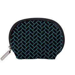 Brick2 Black Marble & Turquoise Colored Pencil (r) Accessory Pouches (small)  by trendistuff