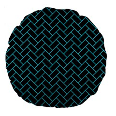 Brick2 Black Marble & Turquoise Colored Pencil (r) Large 18  Premium Flano Round Cushions by trendistuff