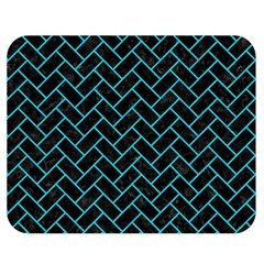 Brick2 Black Marble & Turquoise Colored Pencil (r) Double Sided Flano Blanket (medium)  by trendistuff
