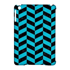 Chevron1 Black Marble & Turquoise Colored Pencil Apple Ipad Mini Hardshell Case (compatible With Smart Cover) by trendistuff