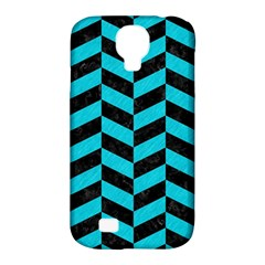 Chevron1 Black Marble & Turquoise Colored Pencil Samsung Galaxy S4 Classic Hardshell Case (pc+silicone) by trendistuff