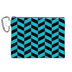 Chevron1 Black Marble & Turquoise Colored Pencil Canvas Cosmetic Bag (xl) by trendistuff