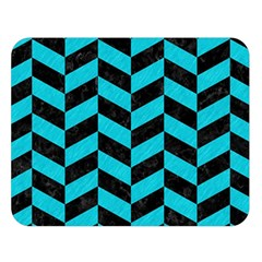 Chevron1 Black Marble & Turquoise Colored Pencil Double Sided Flano Blanket (large)  by trendistuff