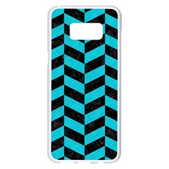 Chevron1 Black Marble & Turquoise Colored Pencil Samsung Galaxy S8 Plus White Seamless Case by trendistuff