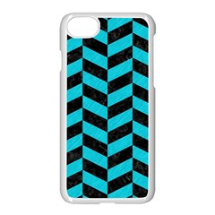 Chevron1 Black Marble & Turquoise Colored Pencil Apple Iphone 8 Seamless Case (white)