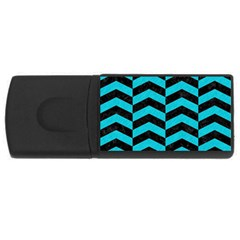 Chevron2 Black Marble & Turquoise Colored Pencil Rectangular Usb Flash Drive by trendistuff