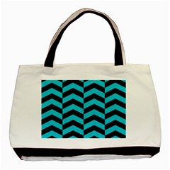 Chevron2 Black Marble & Turquoise Colored Pencil Basic Tote Bag (two Sides) by trendistuff
