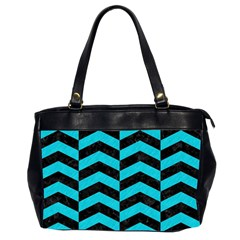 Chevron2 Black Marble & Turquoise Colored Pencil Office Handbags (2 Sides)  by trendistuff