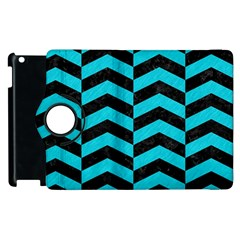 Chevron2 Black Marble & Turquoise Colored Pencil Apple Ipad 2 Flip 360 Case by trendistuff