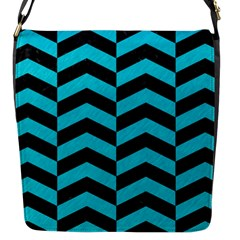 Chevron2 Black Marble & Turquoise Colored Pencil Flap Messenger Bag (s) by trendistuff