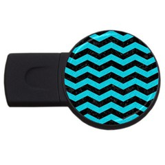 Chevron3 Black Marble & Turquoise Colored Pencil Usb Flash Drive Round (4 Gb) by trendistuff