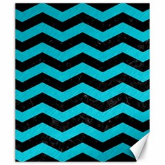 Chevron3 Black Marble & Turquoise Colored Pencil Canvas 20  X 24   by trendistuff