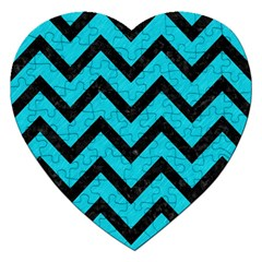 Chevron9 Black Marble & Turquoise Colored Pencil Jigsaw Puzzle (heart) by trendistuff