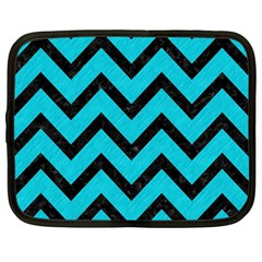 Chevron9 Black Marble & Turquoise Colored Pencil Netbook Case (large)