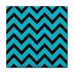 Chevron9 Black Marble & Turquoise Colored Pencil Face Towel by trendistuff