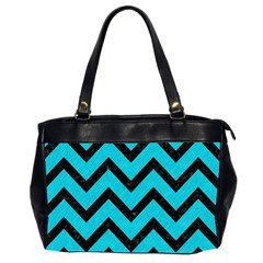 Chevron9 Black Marble & Turquoise Colored Pencil Office Handbags (2 Sides)  by trendistuff