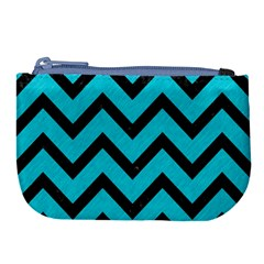 Chevron9 Black Marble & Turquoise Colored Pencil Large Coin Purse