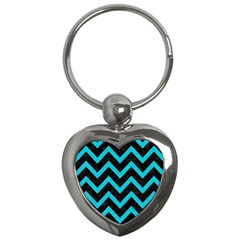 Chevron9 Black Marble & Turquoise Colored Pencil (r) Key Chains (heart)  by trendistuff