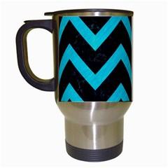 Chevron9 Black Marble & Turquoise Colored Pencil (r) Travel Mugs (white) by trendistuff