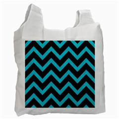 Chevron9 Black Marble & Turquoise Colored Pencil (r) Recycle Bag (one Side) by trendistuff