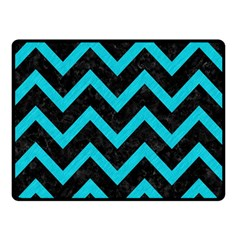 Chevron9 Black Marble & Turquoise Colored Pencil (r) Double Sided Fleece Blanket (small)  by trendistuff