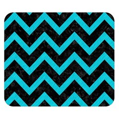 Chevron9 Black Marble & Turquoise Colored Pencil (r) Double Sided Flano Blanket (small)