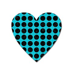 Circles1 Black Marble & Turquoise Colored Pencil Heart Magnet by trendistuff