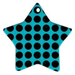 Circles1 Black Marble & Turquoise Colored Pencil Star Ornament (two Sides) by trendistuff