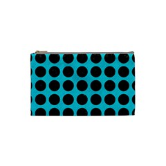 Circles1 Black Marble & Turquoise Colored Pencil Cosmetic Bag (small)  by trendistuff
