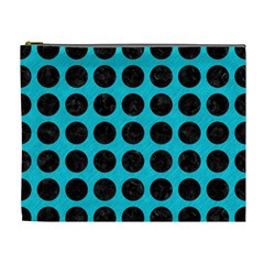 Circles1 Black Marble & Turquoise Colored Pencil Cosmetic Bag (xl) by trendistuff